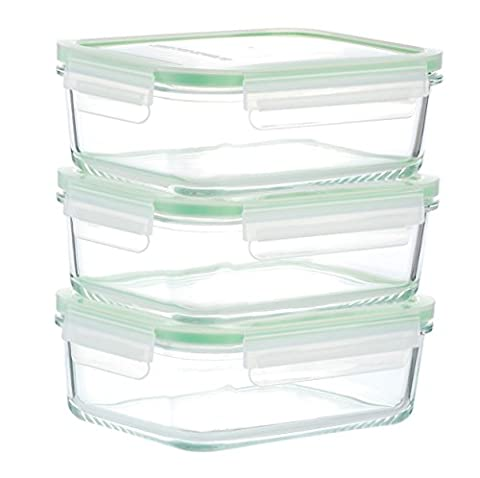 Kinetic GoGREEN Glassworks Series 6 Piece Rectangular Oven Safe Glass Food Storage Container Set 30-Ounce Each (3 Containers and 3 Lids)