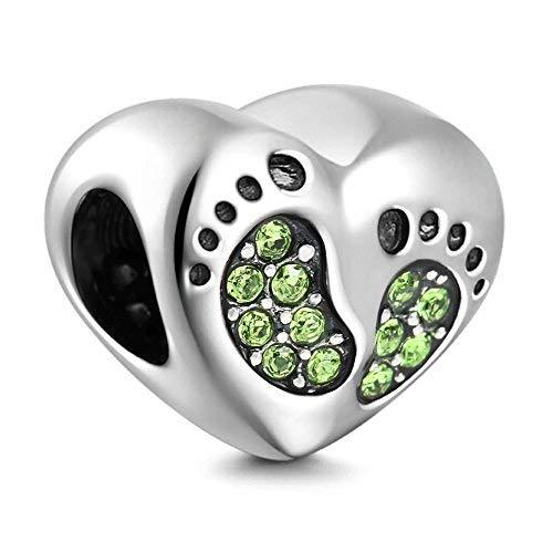 Ciondolo in argento sterling 925 con impronte di neonato, per bracciali, con pietra del compleanno, idea regalo per la festa della mamma. e argento, colore: green, cod. pw_step2