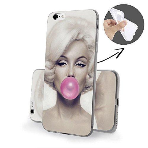 finoo | iPhone 8 Plus Weiche flexible Silikon-Handy-Hülle | Transparente TPU Cover Schale mit Motiv | Tasche Case Etui mit Ultra Slim Rundum-schutz | Princess white Kaugummi Pink