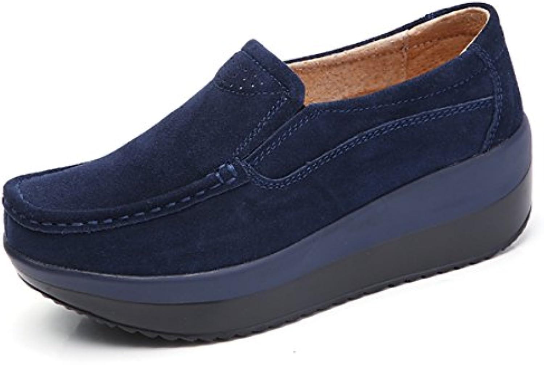 Mujer Mocasines de Loafer Flat Plataforma Casual Primavera Verano Zapatos de Cuña Zapatillas Negro Gris Azul 35-42