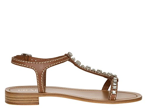 PRADA Femmes Sandales cuir véritable Marron