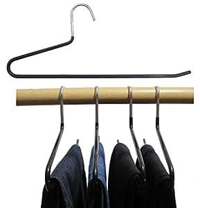 Hagspiel 5 St. Hosenbügel aus Metall, schwarz rutschhemmend beschichtet, 35 cm