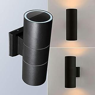 MAXKOMFORT® Wandlampe Wandleuchte Wandstrahler Außenleuchte Schwarz Anthrazit IP44 mit 2 x LED 5W warmweiß (1258-95MB)