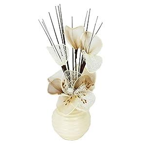 Flourish Biege Creme Künstliche Blumen Mit Creme Vase, Deko, Wohnaccessoires & Deko Geeignet für Bad, Schlafzimmer Oder Küche Fenster / Regal, 32cm