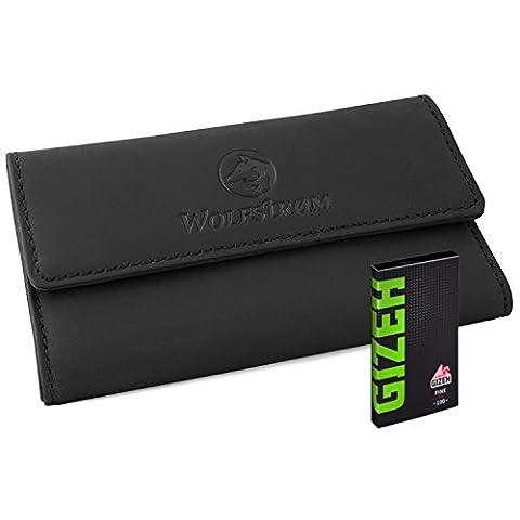 Tabaktasche Leder für Tabakbeutel: Magnetverschluss, Blättchenhalter, Filterfach — inkl. gratis Gizeh Papers — (Tasche Magnete)