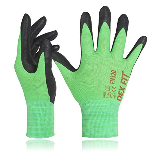 DEX FIT Nylon Gartenhandschuhe FN320, 3D Komfort strecken Fit, Power Grip, Durable Nitrilschaumbeschichtung, Dünn leicht & Hoch elastisch, waschmaschinenfest, Grün X-Klein 3 Pairs