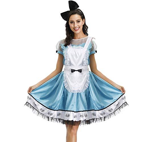 Der Tanz Stil Jahre 50er Kostüm - YAM DER Damen Kleid Halloween Cosplay Bier Kleid Damen Kurzarm Kleider und Schürze Bayerisches Biermädchen Kimono Bier MäDchen Dirndl Kawaii Maid Kleid Oktoberfest Kostüm