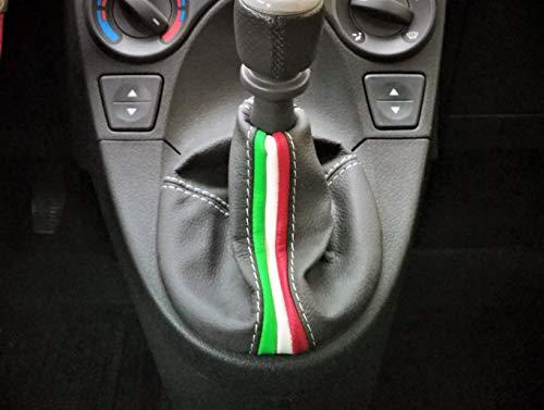 CUFFIA CAMBIO adatta VERA PELLE NERA CON TRICOLORE Interni auto FIAT PANDA 319 dal 2012