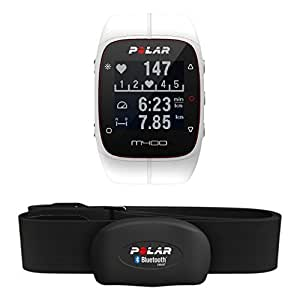 Polar M400 Cardiofrequenzimetro con GPS Integrato + Fascia Cardio Bluetooth Smart per Corsa Outdoor e Indoor, Bianco