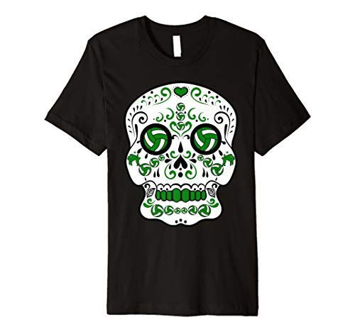 Green and White Volleyball Sugar Sports Skull T-Shirt