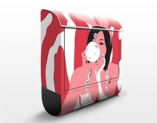 Design Briefkasten No.TA39 Bubblegum Playgirl | Pinup Mädchen Retro, Postkasten mit Zeitungsrolle, Wandbriefkasten, Mailbox, Letterbox, Briefkastenanlage, Dekorfolie