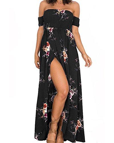 GREMMI Sommerkleider Damen Blumen Maxi Kleid Schulterfreies Abendkleid Strandkleid Party Schulter Kleider Chiffon Kleid- Gr. 42(XL) ,Schwarz