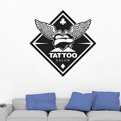 YuanMinglu Tattoo Studio Flügel Logo Vinyl Wand Tattoo Salon Aufkleber Aufkleber Fenster Aufkleber Wanddekoration Wandbild schwarz 57x57cm