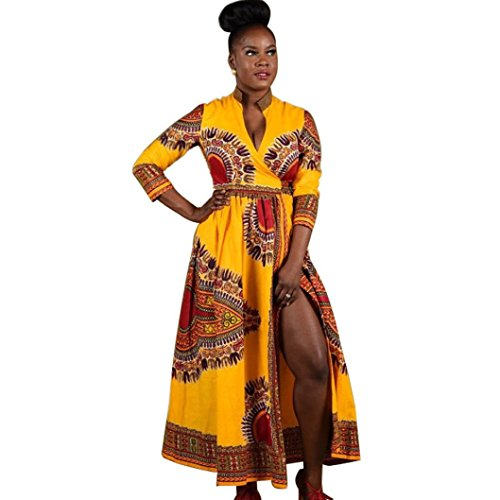 Bovake Frauen-Mantel-afrikanisches Druck-Kleid-beiläufige gerade lange Hülsen-Kleider (XL)
