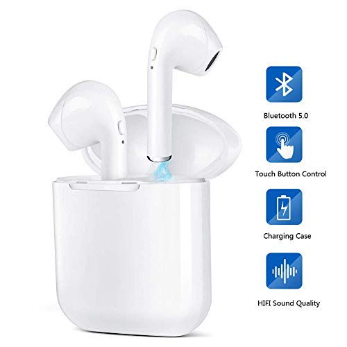 Cuffie Bluetooth, Auricolari Bluetooth Senza Fili HD Stereo Custodia Ricarica più di 6 Ore di Riproduzione IP65 Mic Auricolari Sport IP65 per iOS e Android