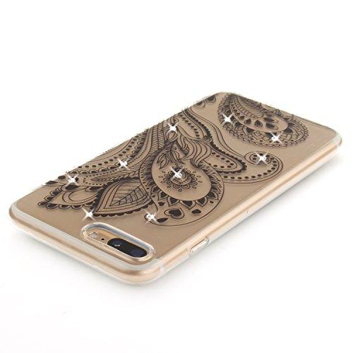 iPhone 7 Plus Coque, Voguecase (Diamant bling)TPU avec Absorption de Choc, Etui Silicone Souple Transparent, Légère / Ajustement Parfait Coque Shell Housse Cover pour Apple iPhone 7 Plus 5.5 (Demi-fle Dentelle gloire du matin/noir