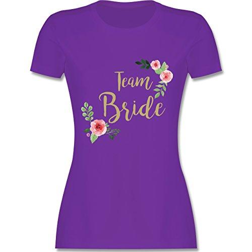f86036ee98950 JGA Junggesellinnenabschied - Team Bride Blumen Vintage - S - Lila - L191 -  Damen T-Shirt Rundhals