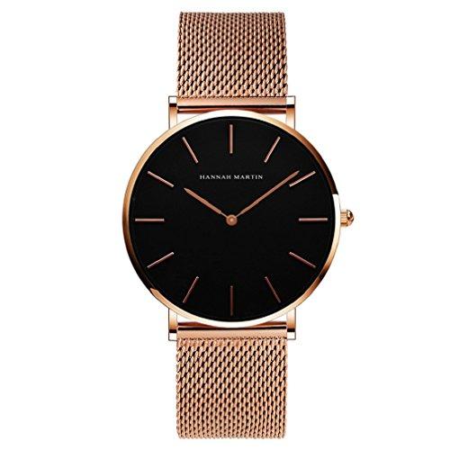Uomo orologi, l'ananas stile minimalista impermeabile anolog attività commerciale quarzo maglia acciaio inossidabile orologio da polso con confezione regalo wristwatch (oro)