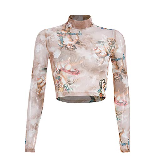 ngel Printed Mesh PerspektiveÄrmel Tops T-Shirt Crop Strap Slip figurbetontes Kleid Perspektive Bedrucktes,kurzärmliges T-Shirt mit reizvollem Oberteil ()