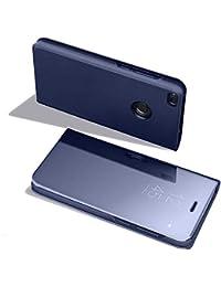Ostop Huawei Y6 2018 Spiegel Handyhülle,Galvanisieren Metall PU Leder mit Standfunktion Transparent Ultra Dünn Flip Abdeckung Vorne und Hinten Schutzhülle-Blau