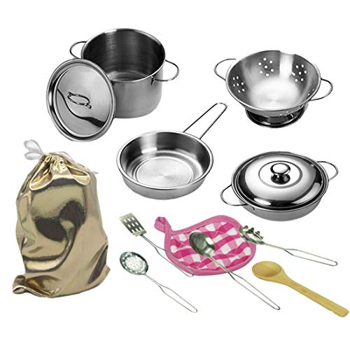 YVSoo 12er Set Küchenspielzeug Töpfe Kochgeschirr Geschirr Küchenspielzeug Kochset für Spielküche Kinderküche Spielzeug -