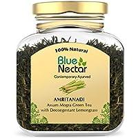 Blue Nectar Amritanadi Assam Green Tea   Whole Loose Green Tea Leaves from Assam Tea Garden (65 g   33 Cup) (Decongestant Lemongrass)