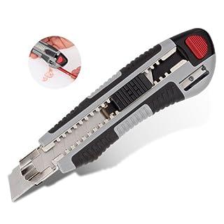 Kreator Cuttermesser Teppichmesser 18mm Abbrechklinge mit Auto Lock Funktion 5x Ersatzklingen Autoload und Bleistiftspitzer im Griff - KRT000304