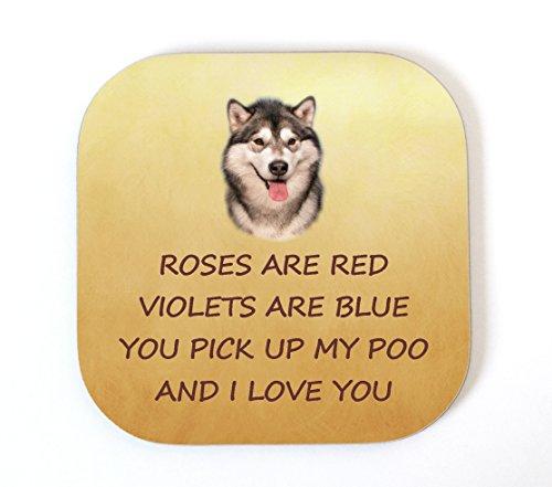 Alaskan Malamute 'I Love You' Untersetzer aus der Hund lustige Geburtstag Valentinstag Mütter Väter Tag Geschenk (Alaskan Hund Macht Malamute)