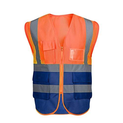 PLJtrend-Hi Vis Viz Hallo Vis Weste reflektierende Sicherheitsweste mit Taschen und Reißverschluss Jacke Zip 2 Band Sicherheit Handytasche ID Inhaber PLJtrend-Hi Vis Viz (Farbe : Orange, Size : M) -