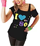 Classy Fashion Frauen Ich Liebe die 80er Jahre T-Shirt Top Damen Ich Liebe 80er Jahre Kostüm Hen Night Stag Do Parteien Tees Top 80er Party Kleider (Small, Black)
