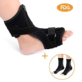 Plantar Fasciitis Night Splint for Women and Men, Orthotic Drop Foot Support Strength Brace Sleeping with A Pair Compression Socks for Achilles Tendon, Drop Foot and Tendonitis, Fits Right or Left