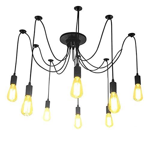 Lampe Licht Kronleuchter (LemonBest® Kronleuchter Pendelleuchten 8 Lichter Edison hängende Lampen Deckenbeleuchtung)