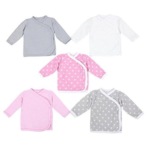 TupTam Unisex Baby Langarm Wickelshirt 5er Set, Farbe: Mädchen 3, Größe: 62