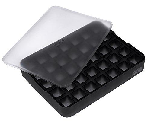 Lurch Ice Former Premium Eisbereiter aus Silikon mit Deckel für 35 Eiswürfel in der Größe 2cm, Schwarz, 3.5 x 15.5 x 20.5 cm