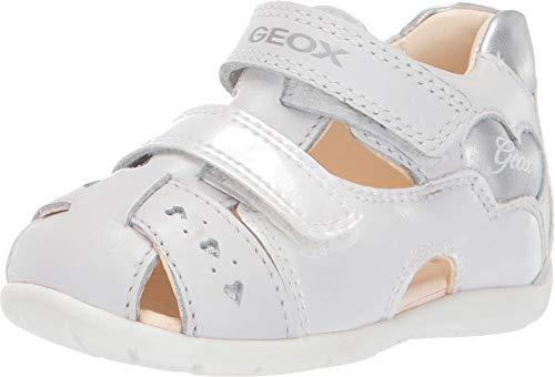 Geox B Kaytan A, Sandales bébé Fille, (White/Silver C0007), 20 EU