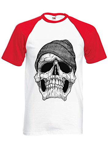 Dope Skull Black And White GEORDIE Novelty Red/White Men Women Unisex Shirt Sleeve Baseball T Shirt-L par  NisabellaLTD