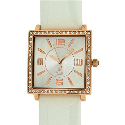 Royal London 21059-03 - Reloj para mujeres, correa de cuero color blanco