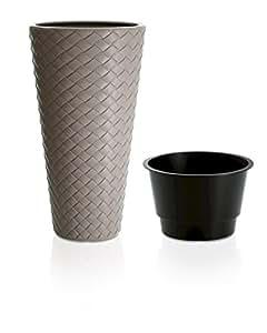 Terra - Vaso Matuba in plastica con inserto, grigio talpa