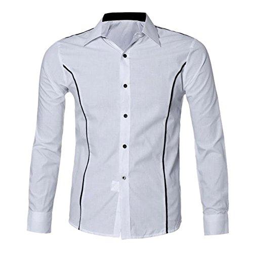 (SEWORLD 2018 Herren Herbst Winter Neue Langarmhemd Luxus Trachtenhemden Hemd Slim Fit Stilvolle Hemden Oberteil Oktoberfest (Weiß,EU-48/CN-2XL))