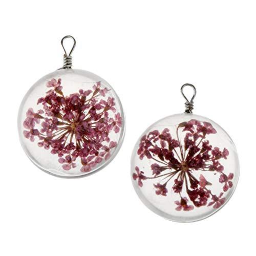 unde Getrocknete Blumen Charm DIY Anhänger Perlen Charm Leere Beads Schmuck Herstellen Handwerk Zubehör - Rosa ()