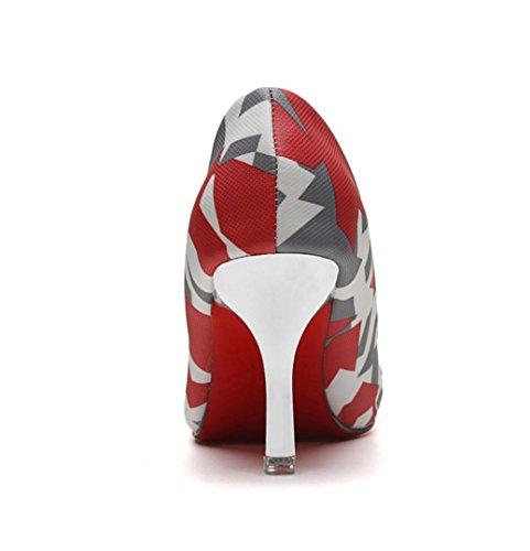WZG Der neue Druck spitze Schuhe Frauen hohe Absätze fein mit Mischfarben 7cm Frauen hohe Absätze Red