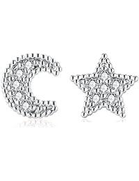 """Candyfancy Pendiente Estrella Luna Cartilago Piercing Helix Tragus Acero Inoxidable Cristal Mujer Bar 16g 1/4"""""""