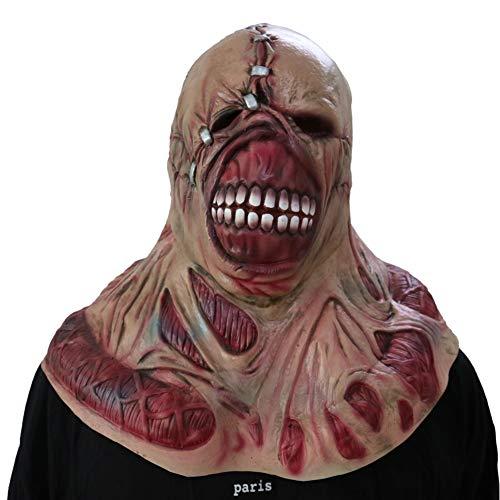 (LHJ Halloween Zombie Maske Raum Spukhaus Requisiten Biohazard Kahle Tyrann Maske Geist Maske Horror Perücke,Flesh,OneSize)