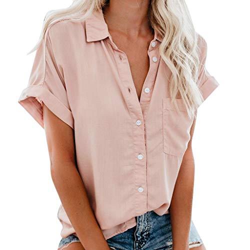 Xmiral T-Shirt Damen Solid/Striped Kurzarm V-Ausschnitt Knopf Bluse Tops Plus Size Sommer Beiläufig Wilde Elegant Chic Shirt Sweatshirt(Rosa,L) -