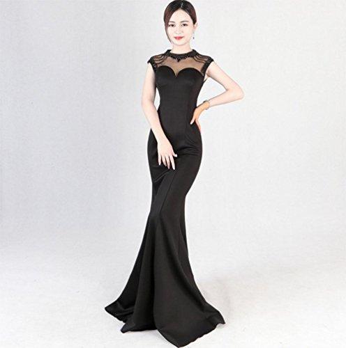 MEILI Slim vestito da sera passerella moda coda di nozze Slim era sottile host vestito femminile lunga sezione 1