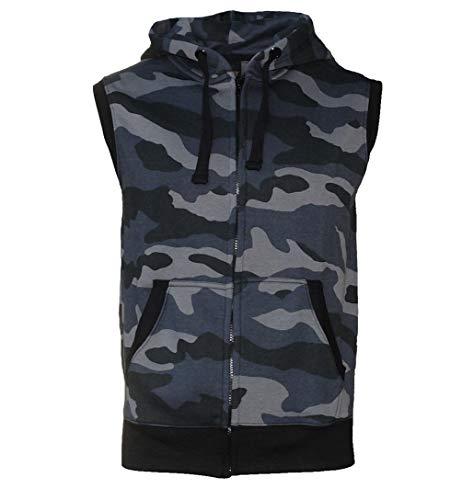 ROCK-IT Apparel® Zipped Hoodie ärmellos für Herren Sleeveless Fitness Kapuzenpullover Männer Sweater Trainingsweste Sweatshirt Tank Top S-4XL Farbe Camouflage Grau/Schwarz 4XL
