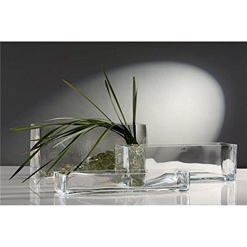 Jarrón de cristal rectangular grande, 40x 12