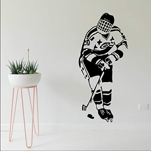 jiuyaomai Adesivo Murale Adesivo Hockey Sport Giocatore Gioco Squadra Ragazzo Bambini Camera dei Bambini Hockey Club Design Decorazioni per la casa Murale AR 2 57X129 CM