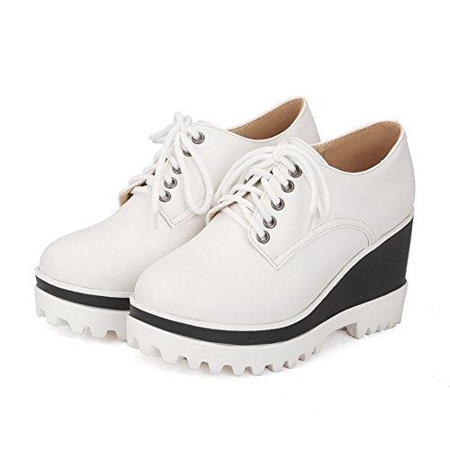 AllhqFashion Femme à Talon Haut Matière Mélangee Lacet Rond Chaussures Légeres Blanc