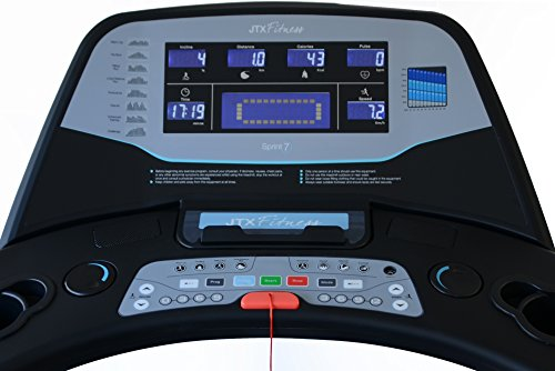 41wzX7IWIWL - JTX Sprint-7: High Performance 20KPH Home Treadmill with Large Shock Absorbing Running Deck